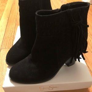 Jessica Simpson short fringe black suede boots